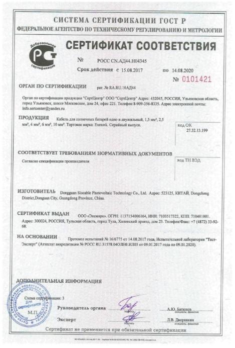 Сертификат соответствия кабель для солнечных батарей