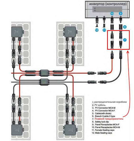 схема подключения плавких предохранителей 20А для солнечных батарей