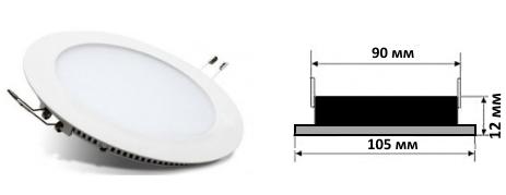 габаритный чертёж точечного встраиваемого светильника 4 ватта