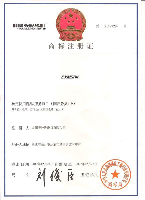 китайский сертификат на ТМ Exmork