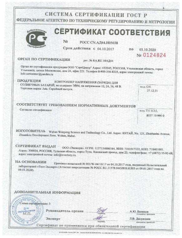 Сертификат соответствия Juta