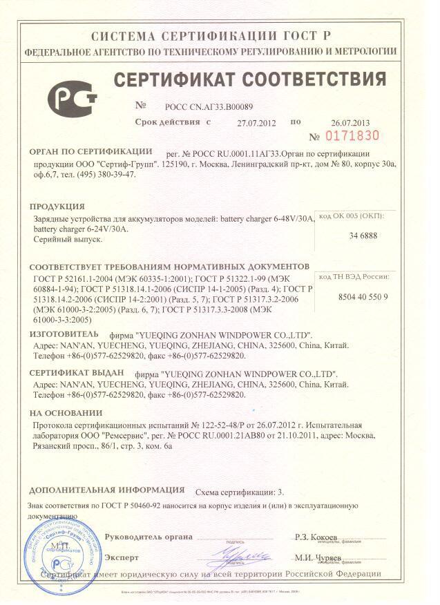 сертификат зарядного устройства