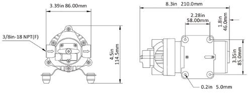 Размеры мембранного насоса SFDP1-015-080-31