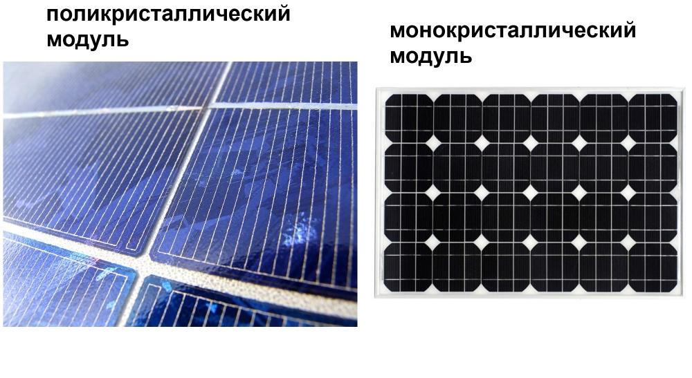 сравнение поли и моно кристалла солнечных модулей