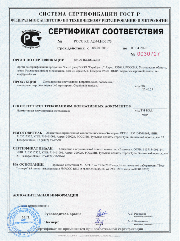 сертификат на светодиодные светильники
