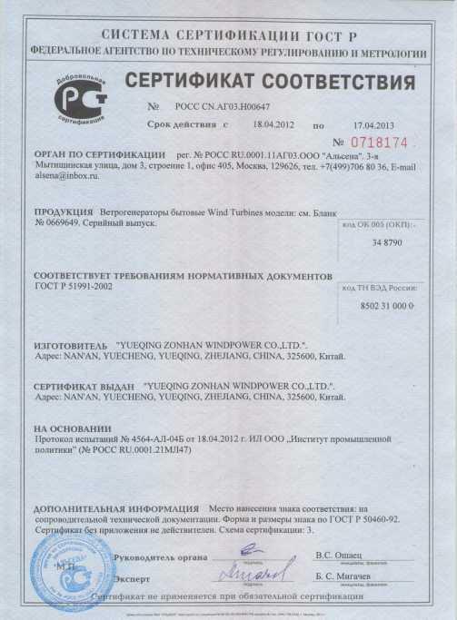 сертификат ветряков
