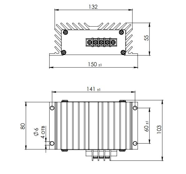 габаритные размеры конвектора dc-dc 48-12